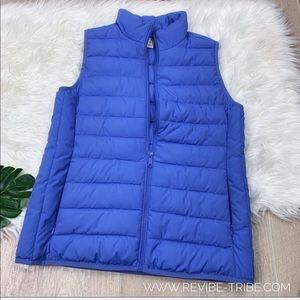 J.crew blue puffer double pocket vest SZ. XS